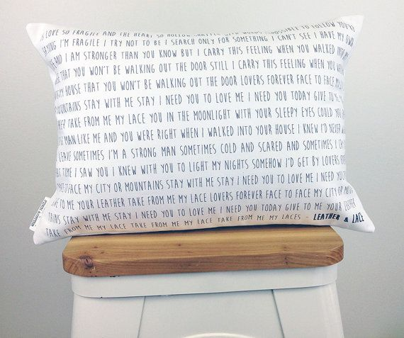 Turn your favorite song into a unique accent pillow. This custom pillow makes an amazing wedding gift (use the bride & grooms song!), anniversary