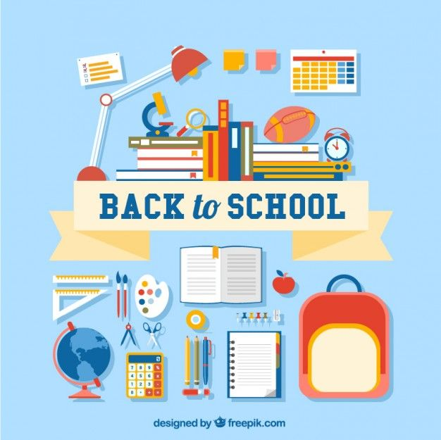 Back to school lettering with many supplies