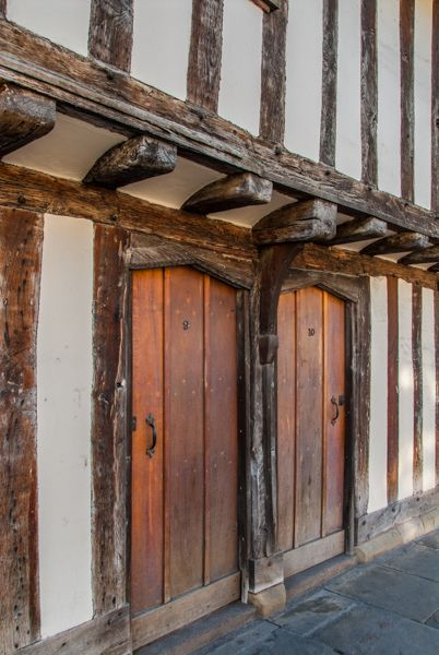 The timber-framed exterior of King Edward's School, Stratford upon Avon, England,  where Shakespeare once attended,built in 1417