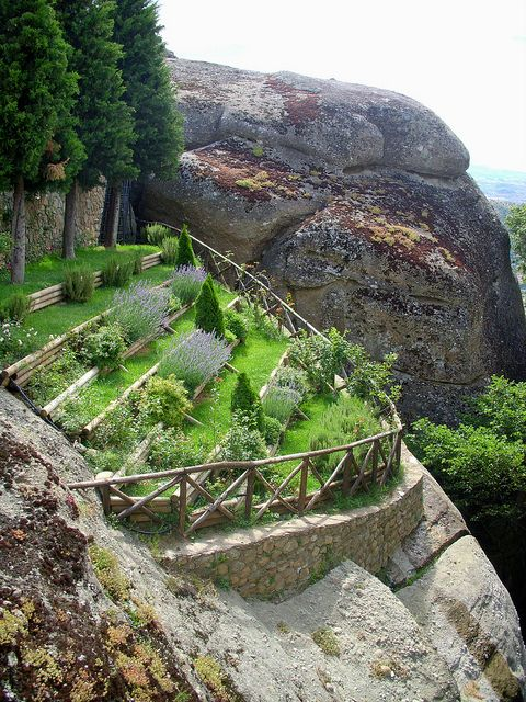 Spectacular suspended cliff garden at Meteora, Greece