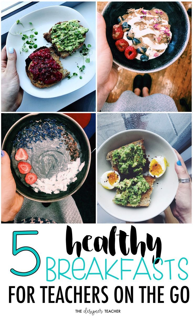 These 5 healthy breakfasts for teachers will fuel you up for your busy day ahead! Includes smoothie bowls, overnight oats, and avocado toast! #mealplanning #teaching #breakfast