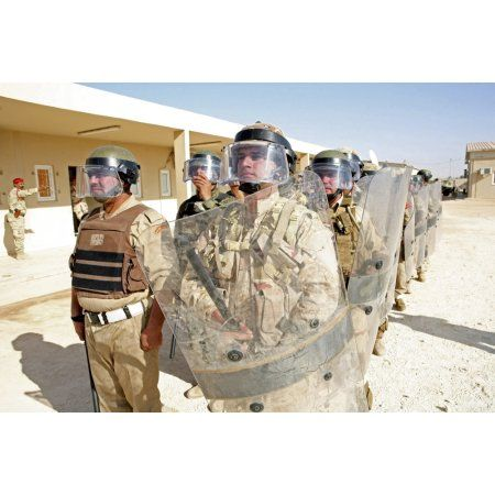 Soldiers from the 7th Iraqi Army Division stand ready during a riot control training exercise Canvas Art - Stocktrek Images (34 x 23)