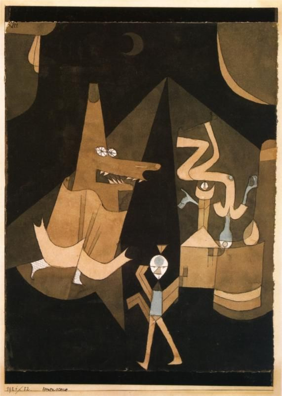 Page: Witch scene  Artist: Paul Klee  Completion Date: 1921  Style: Surrealism  Period: Bauhaus  Genre: mythological painting  Technique: oil  Material: canvas  Dimensions: 32 x 24.25 cm  Gallery: Private Collection: Paintings Techniques, Witch Scene, Scene Witch, Men Canvas, Witchscen Paulkl, Hexen Scene, Doce Paul, Paul Klee, 1921 Paul