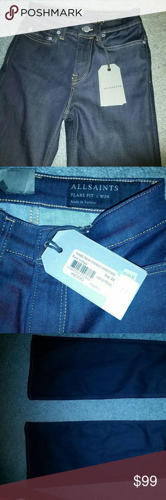 ALLSAINTS boot leg leg dark blue jeans 24 Beautiful raw indigo color with trending boot leg bottom. So amazing with any outfit! Never worn. New with tags. Originally $178!! All Saints Jeans Flare & Wide Leg