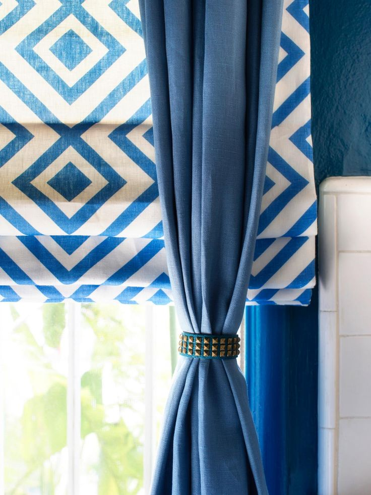 10 Creative Ways to Use Household Items As Curtain Hardware   HGTV :: I really dig these shades of blue and the bracelet while a totally different style still goes so well with everything