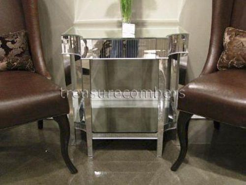 MIRRORED Glam NIGHTSTAND Mirror Side Accent END TABLE Chic