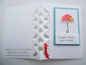 Video tutorial and template showcasing this fun braided card technique featuring the Stampin Up Rain or Shine stamp set.