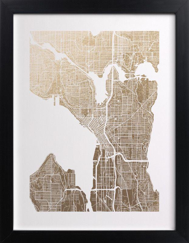 Seattle Map Redmond%0A   Seattle Map    Foilpressed Art Print by Alex Elko Design
