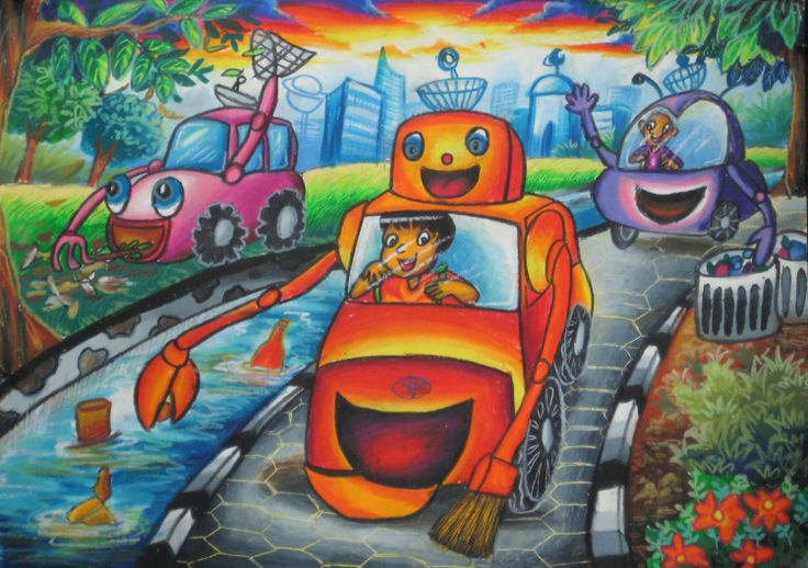 'Cleaner Car' by Christopher Daniel, Aged 8, Indonesia: 4th Contest, Bronze #KidsArt #ToyotaDreamCar