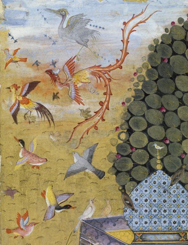 Süleyman'ın kuşlardan olan ordularını tasvir eden başka bir minyatür