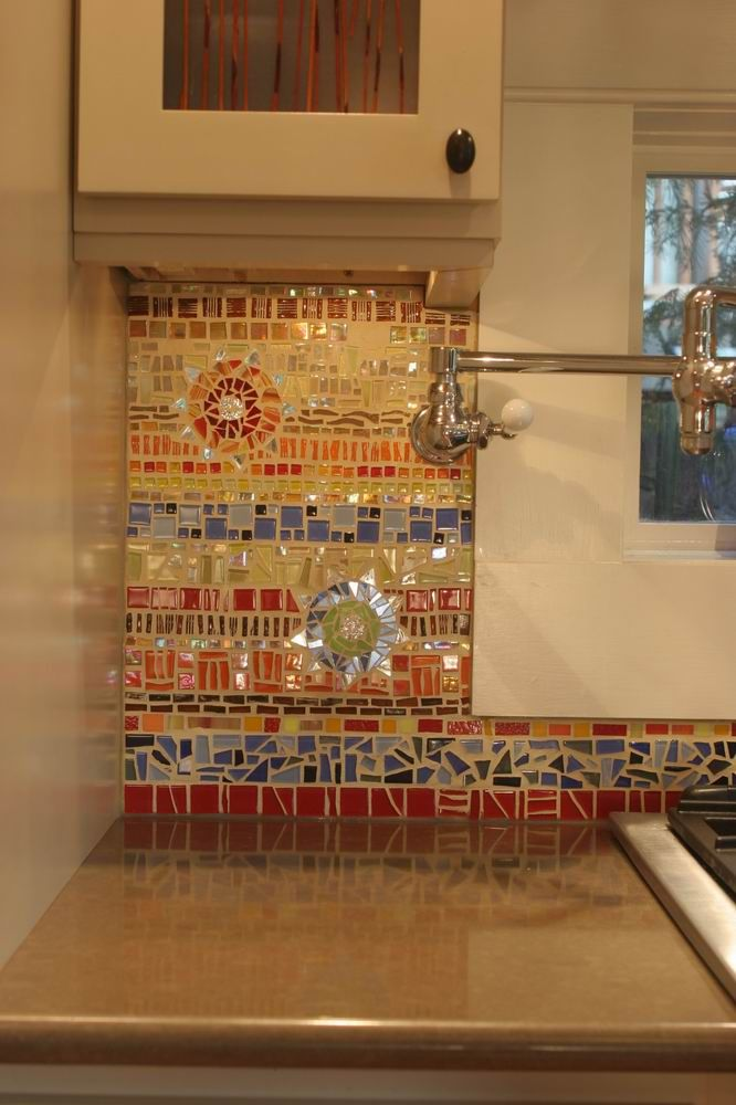 Homeowner designed glass and ceramic tile mosaic backsplash