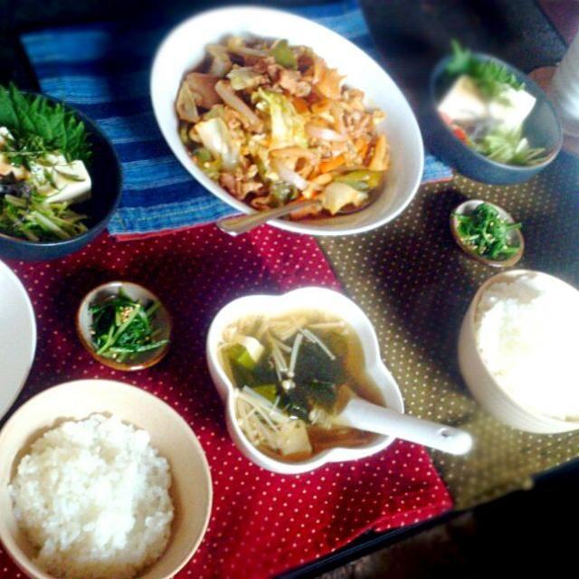 こどもの日のお昼ごはん。 あいにくのお天気でしたね。 - 21件のもぐもぐ - お昼ごはん ごはん、中華スープ、回鍋肉、お豆腐としそのサラダ、水菜のおひたし by stredpepper