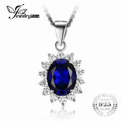 [ $42 OFF ] Jewelrypalace Kate Princess Diana William 2.5Ct Blue Sapphire Pendant 925 Sterling Silver Wedding Pendant Jewelry For Women Gift