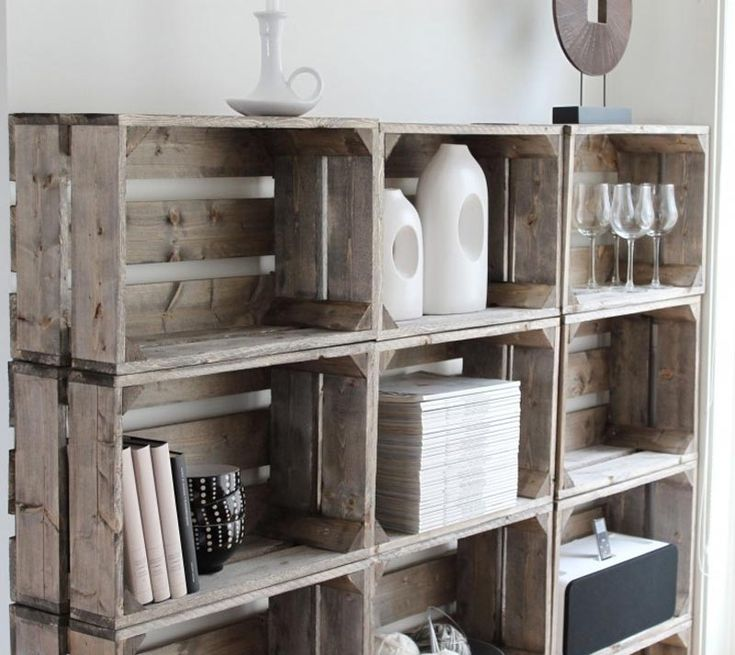 Several original ideas of shelves made from fruit boxes 9