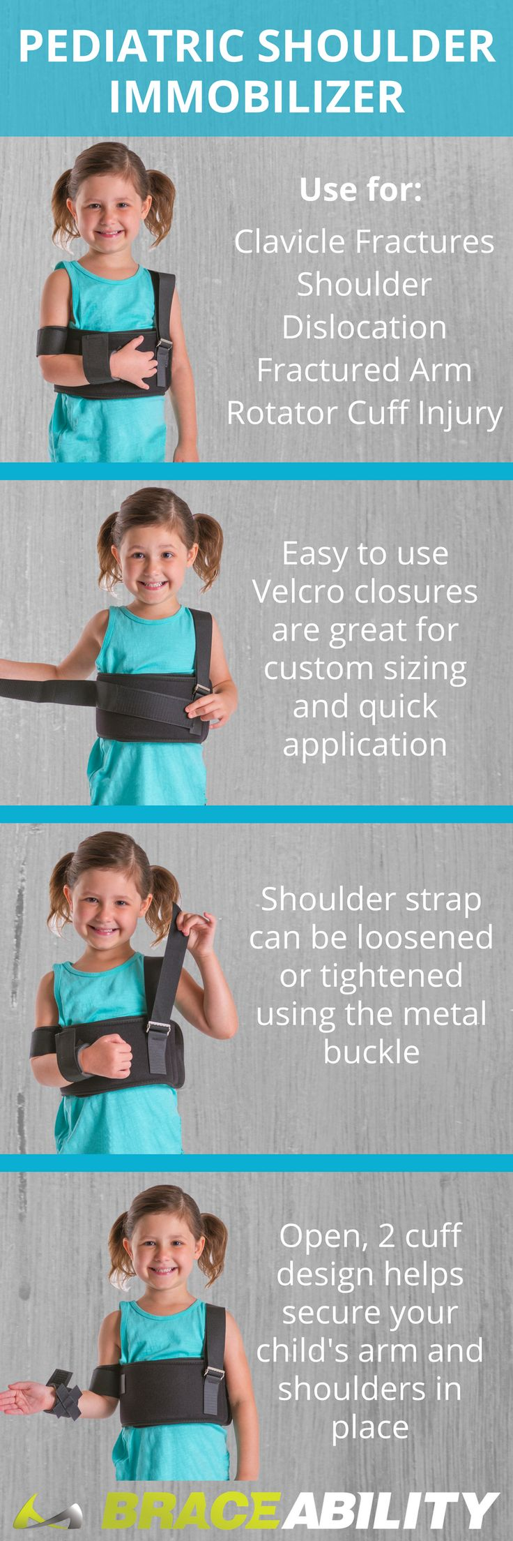 This pediatric shoulder immobilizer and arm sling for kids helps treat clavicle fractures (broken collarbones), shoulder dislocations and subluxations, fractured arms, and rotator cuff injuries. It's made of soft, foam laminate with two cuffs and Velcro closures for comfortable immobilization, even for the most active child. Visit https://www.braceability.com/kids-arm-sling-pediatric-shoulder-immobilizer to shop now!