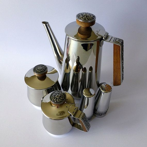 Vintage Lucky Wood 'Florence' Stainless Steel & wood Teapot or Coffee pot, Sugar & Creamer and Salt & Pepper ~ matching set made in Japan - 1960s