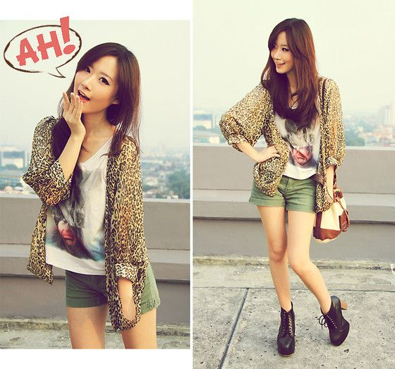 Gowigasa Leopard Outerwear, Zara Cropped Top, Zara Bag
