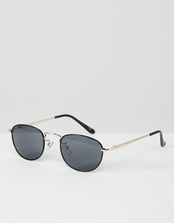027c381fc07e ASOS 90S Small Oval Sunglasses In Black With Silver Metal Nose Bridge