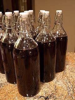 Homemade Kahlua...  2 cups hot water;   2 cups sugar;   1 tbsp instant coffee;   1 tbsp vanilla;   2 cups vodka;   1/2 cup good brandy.