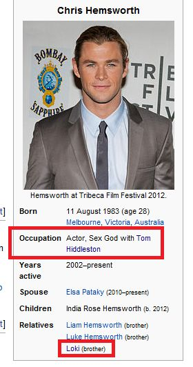 xD Chris Hemsworth Wikipedia. This is probably the greatest thing I've ever seen on Wikipedia.
