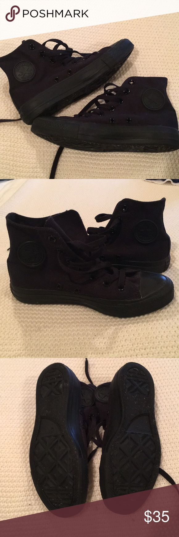 🖤Converse🖤 Black High Top Sneakers All black high top converse sneakers. These were worn one time !!! Like new condition. Great for leggings or jeans :) women's 6 or men's 4 could be unisex. Converse Shoes Sneakers