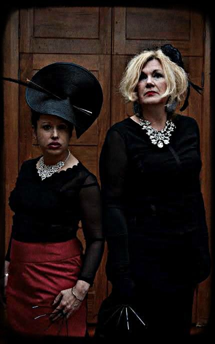 Millenery and skirts Hand Sewn By David Roil .. necklaces models own  models : RoseBud Garlan & Elisha Hogen photo Michael Crump