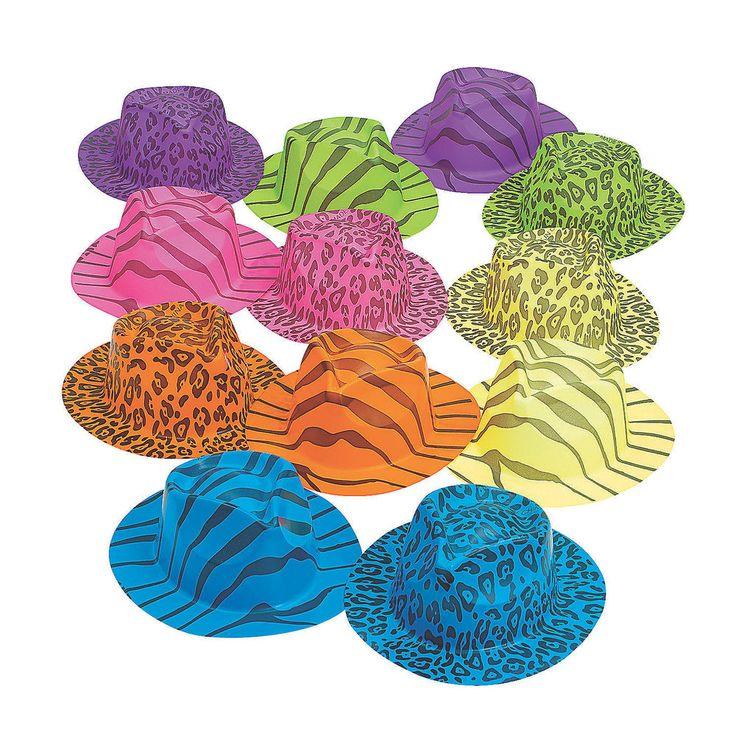 12 Plastic SAFARI PRINT HATS Kids Birthday Party Favors Costume Dress Up Dozen #FunExpress #BirthdayChild