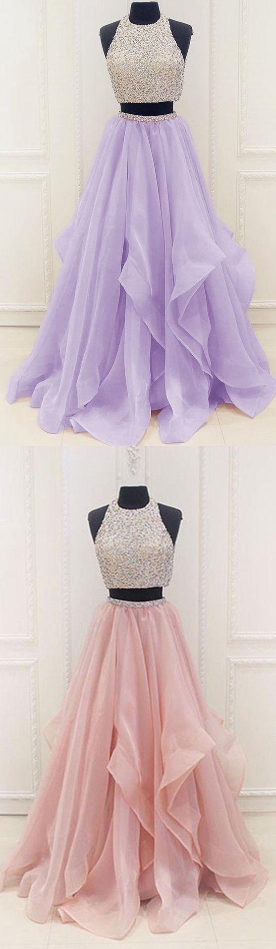 Two Pieces Prom Dress 2017, Halter Prom Dress, Ball Gown, Graduation Dresses, Formal Dress For Teens