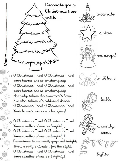 O CHRISTMAS TREE Song Activity Sheet My Blog ENJOY
