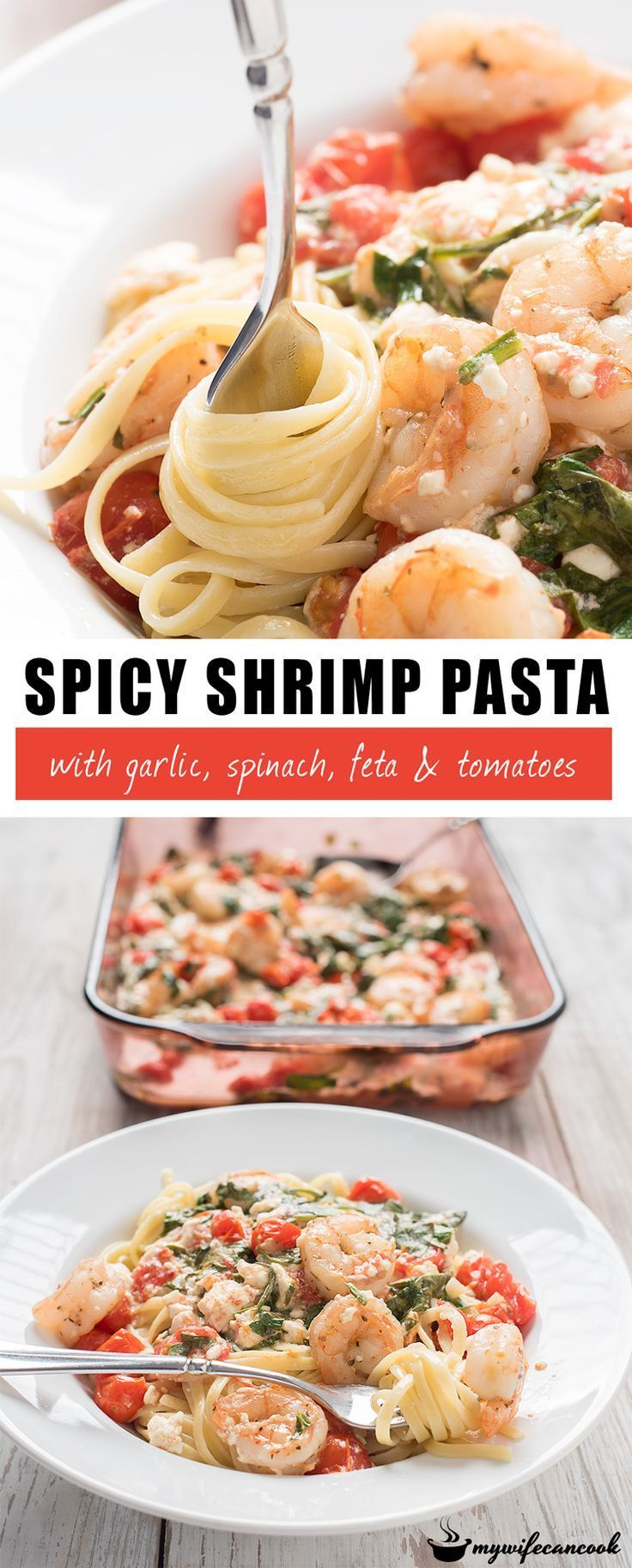 Spicy Shrimp Pasta! This spicy shrimp pasta with feta cheese, garlic, spinach, and tomatoes is a favorite date night dish in our house. It pairs well with strawberry daiquiris or another frozen drink. We like it as a shrimp linguini, but other pasta will work and you can even use zoodles if you are looking for a low carb option. Make sure you smush some of the feta down while cooking so that it blends with the white wine sauce. You can find all the spicy shrimp pasta tips over on our blog.