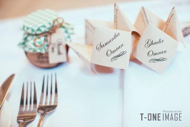 Trendy menu and guest name tag