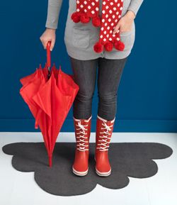 draw a cloud on the back of a grey door mat and cut it out. vacuum the loose parts of the doormat. this is cute:)