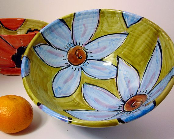 Pottery Serving Bowl Earthenware Clay Turquoise Flowers on Olive Green / Clay Lick Creek Pottery #home #bowl #ceramic $60