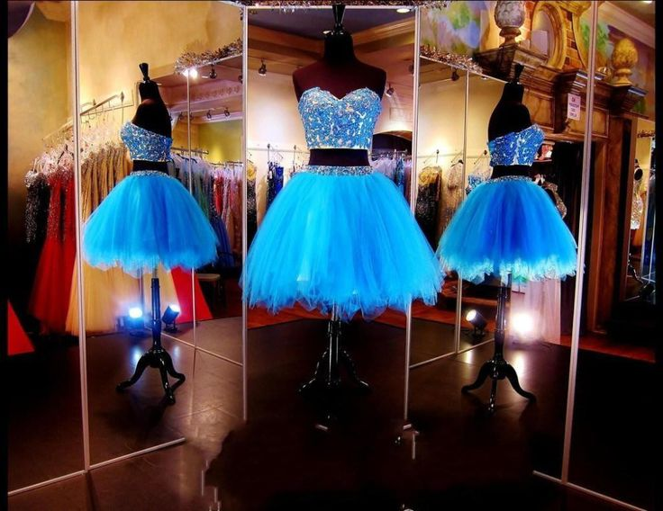 Custom Made Sparkling Backless Sexy Short Prom Dresses,2 Pieces Tulle Girls Homecoming Dress