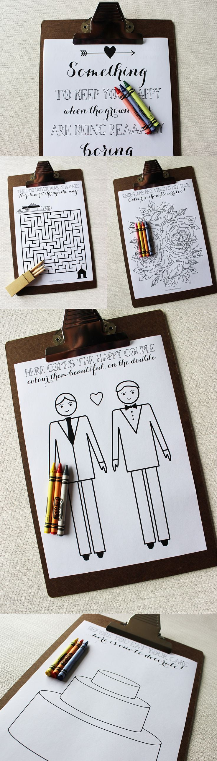 Long Grooms LGBT Friendly Childrens Activity Book on Clipboard for your wedding reception