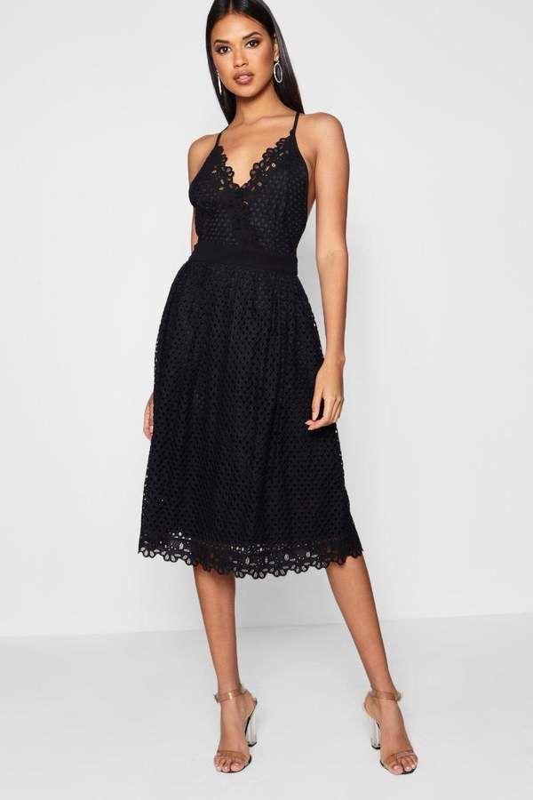 4ba7323840 The new little black dress! boohoo Boutique Daisy Scallop Trim Midi Skater  Dress