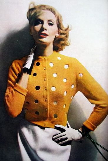 Suzy Parker, photo by Lillian Bassman for Harper's Bazaar, 1956. 1950s fashion.  In another color I would SO want this cardigan!