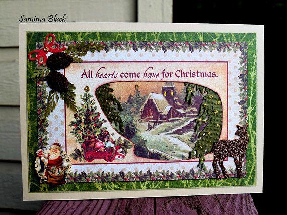 Old Time Christmas Card Vintage Victorian Christmas Card