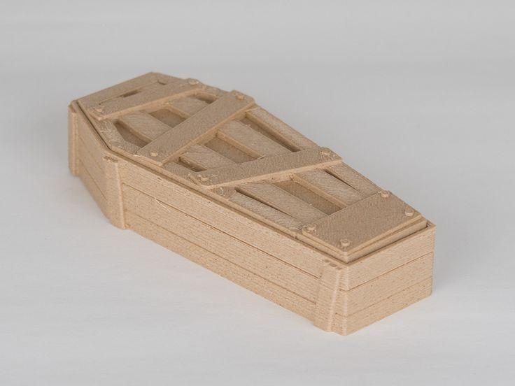 Rakev ze světlého dřeva, 3D tiskárna Rebel 2Z. Cofin from WOOD material, 3D printer Rebel 2Z.