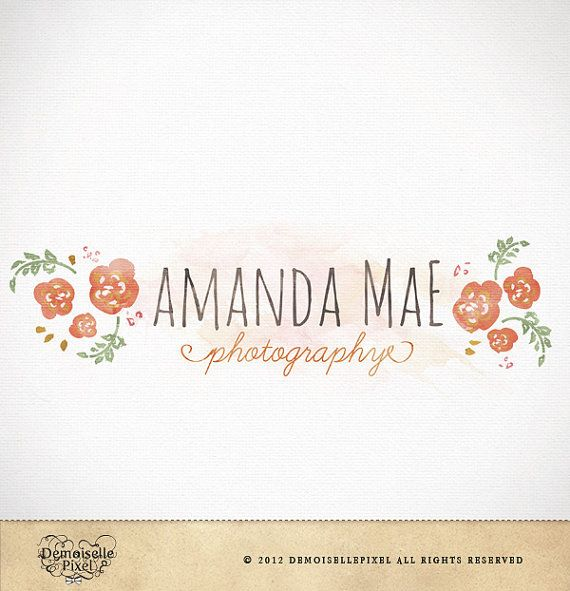Hand Drawn Premade Logo Watercolor Flowers for by Demoisellepixel, $39.90