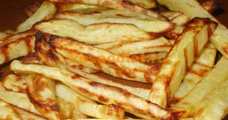 Картофель фри в аэрогриле, приготовлненный с минимумом растительного масла без пережаривания. Блюдо рекомендовано для здорового питания.