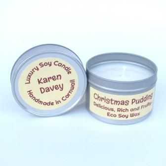 christmas  pudding scented soy wax candle