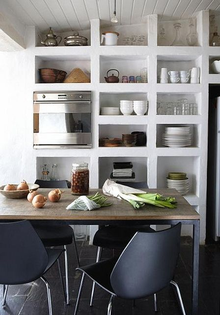 I like the idea of open kitchen shelves but my kitchen has to many things to hide. Like all the dust on the pots, pans, and plates. Take out for the win.
