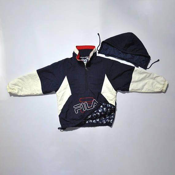 Vintage FILA Puffy Pullover Half Zip Windbreaker Jumper / Puffer Jacket / Color Block / Hooded Cagoule Jacket / FILA Big Logo / 90s FILA