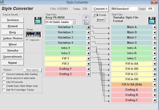 Berikut ini adalah cara convert style keyboard, pertama download software Style Works 2000 Universal. kemudian instal dan jalankan software nya. setelah itu klik menu Configuration, dan pilih tipe keyboard seisuai dengan tipe keyboard yang Anda miliki. selanjutnya adalah klik menu Style Converter, kemudian pada menu bar source format, pilih merek keyboard sesuai dengan file style yang akan di convert.