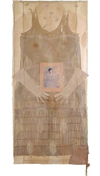 """BETYE SAAR ~ """"Blend"""" (2002) mixed media collage on hand made paper 55 1/2"""" x 25 3/4"""" x 3/4"""", signed and dated 