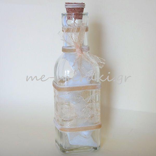 Μπομπονιέρες γάμου μπουκάλι με δαντέλα και βελούδο, μπομπονιέρα χειροποίητη. μπομπονιέρα γάμου  www.me-meraki.gr     Κ10095-Γ