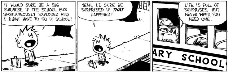 Calvin and Hobbes - Life is full of surprises, but never when  you need one.