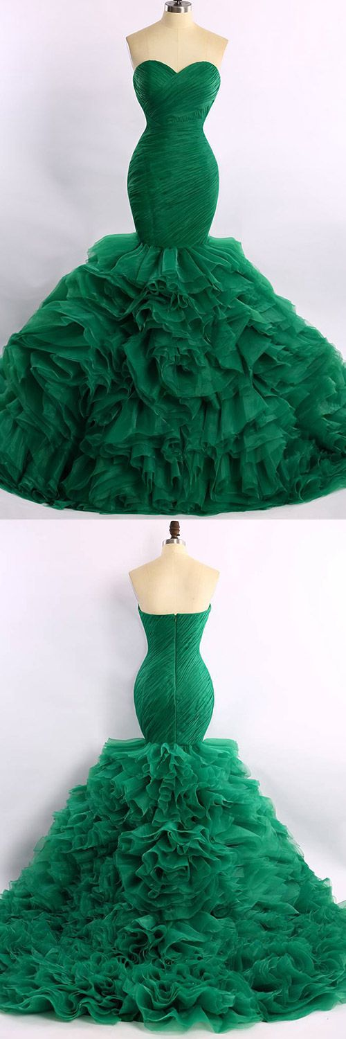 Mermaid Prom Dresses Green, Long Formal Party Dresses Modest, Organza Court Train Cascading Evening Gowns Ruffles Expensive