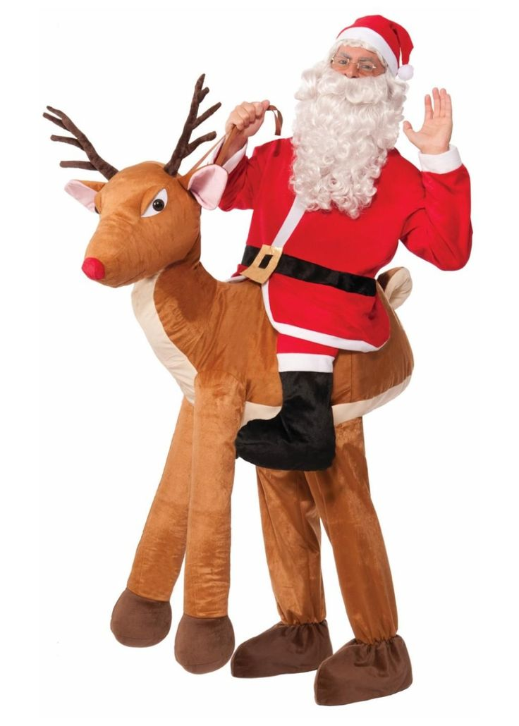 Amazing Christmas Party Fancy Dress Ideas Part - 6: Santa Riding Reindeer Men Costume